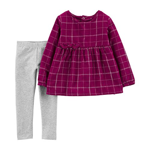 Baby Girl Carter's  Plaid Babydoll Top & Leggings Set