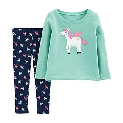 Baby Girl Carter's Pegasus Applique Top & Glittery Print Leggings Set