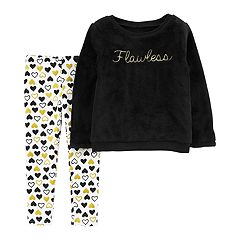 Baby Girl Carter's 'Flawless' Fuzzy Sweatshirt & Glittery Heart Leggings Set