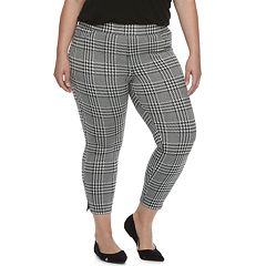 Plus Size Utopia by HUE Wide Waistband Houndstooth Skimmer Leggings