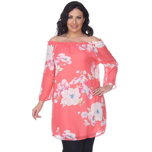 Plus Size White Mark Floral Off-the-Shoulder Tunic