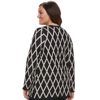 Plus Size Croft & Barrow® Geometric Extra Cozy Cardigan