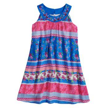 Girls 7-16 blush Multi Print Halter Dress