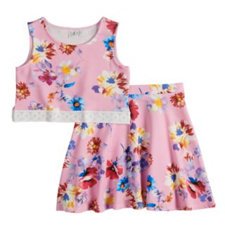 Girls 7-16 blush Floral Print Pique Knit Lace Trim Tank Top & Flare Skirt Set