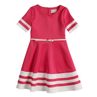 Girls 7-16 blush Short Sleeve Belted Fit & Flare Scuba Dress