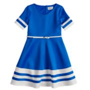 Girls 7-16 blush Short Sleeve Belted Fit & Flare Scuba Dress