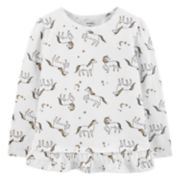 Baby Girl Carter's Glittery Unicorn Ruffle-Hem Top
