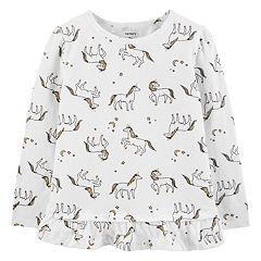 Baby Girl Carter's Glittery Unicorn Ruffle-Hem Top