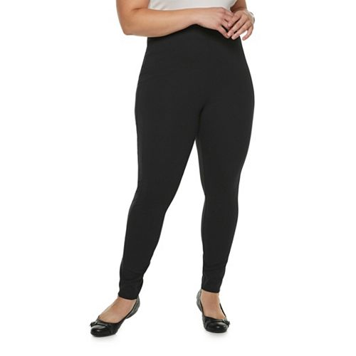 67541ddec1b9b6 Plus Size Utopia by HUE Blackout Seamed Leggings