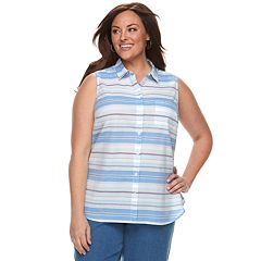 Plus Size Croft & Barrow® Print Sleevless Button-Front Shirt
