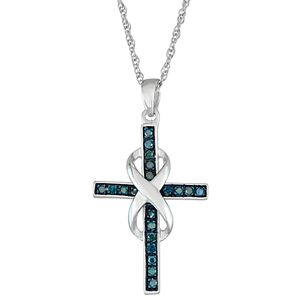 Sterling Silver 1/10 Carat T.W. Blue Diamond Infinity Cross Pendant Necklace