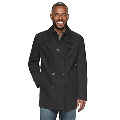 Men's AM Studio by Andrew Marc Double-Breasted Wool-Blend Peacoat with Bib