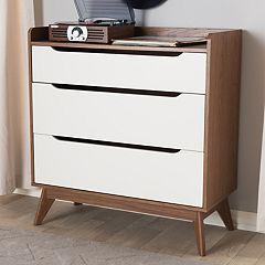 Baxton Studio Brighton Mid-Century 3-Drawer Dresser