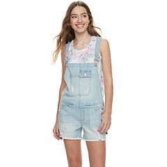 Juniors' Indigo Rein Mid-Rise Denim Shortalls
