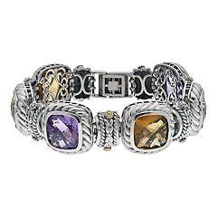 Sterling Silver Checkerboard Gemstone Bracelet