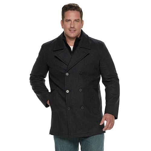da3059e7c8a Men s Andrew Marc Wool-Blend Double-Breasted Bibbed Peacoat