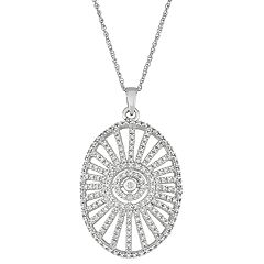 Sterling Silver 1/2 Carat T.W. Diamond Openwork Pendant Necklace