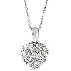 Sterling Silver 1/2 Carat T.W. Diamond Heart Pendant Necklace