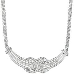 Sterling Silver 1 Carat T.W. Diamond Festoon Necklace