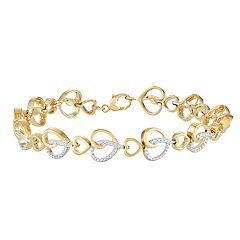 14k Gold Over Silver Diamond Accent Heart Link Bracelet
