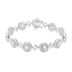 Sterling Silver Lab-Created White Sapphire Halo Link Bracelet