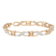 14k Gold Over Silver Diamond Accent Infinity Link Bracelet