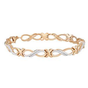 14k Gold Over Silver Diamond Accent Infinity Link Bracelet