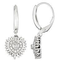 Sterling Silver 1/2 Carat T.W. Diamond Heart Leverback Earrings