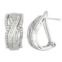 Sterling Silver 1 Carat T.W. Diamond Crisscross Omega Back Earrings