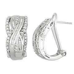 Sterling Silver 1 Carat T.W. Diamond Crisscross Omega Back Earrings