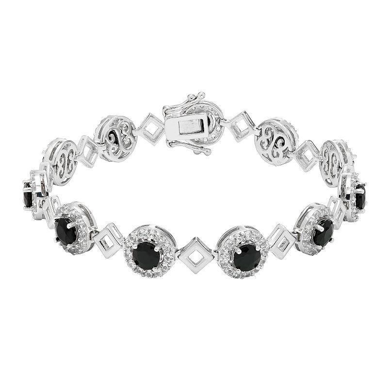 """Sterling Silver Onyx & Lab-Created White Sapphire Halo Link Bracelet. Women's. Size: 7.5"""". Black"""