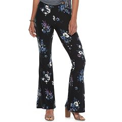 Juniors' Pink Rose Mid-Rise Peached Flare Pants