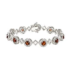 Sterling Silver Garnet & Lab-Created White Sapphire Halo Link Bracelet