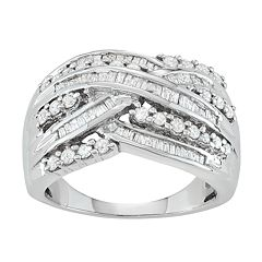 Sterling Silver 1 Carat T.W. Diamond Crisscross Ring