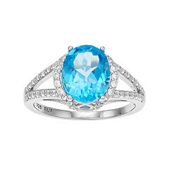 Sterling Silver Blue Topaz Split Shank Ring