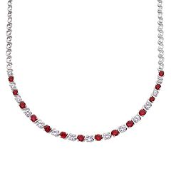 Sterling Silver Lab-Created Ruby & White Sapphire Necklace