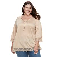 Plus Size French Laundry Crochet Trim Top & Necklace Set