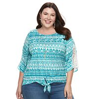 Plus Size French Laundry Crochet Tie-Front Top