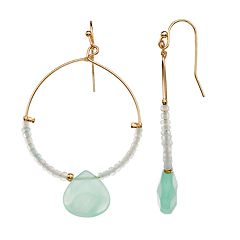 LC Lauren Conrad Green Bead Nickel Free Hoop Drop Earrings