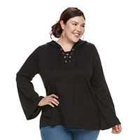 Plus Size French Laundry Lace-Up Hooded Sweatshirt