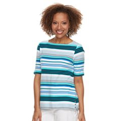Petite Croft & Barrow® Print Button-Hem Squareneck Top