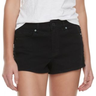 Juniors' Indigo Rein Mid-Rise Lace-Up Denim Shorts