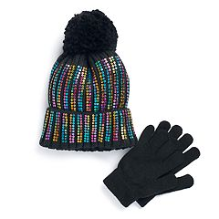 Girls 4-16 SO® Sequin Hat & Gloves Set