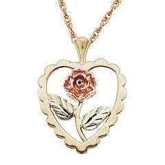 Black Hills Gold Tri-Tone Flower Heart Pendant Necklace