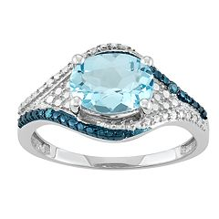 Sterling Silver Blue Topaz & Diamond Accent Ring