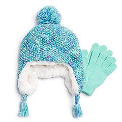 Girls 4-16 SO® Marled Hat & Magic Gloves Set