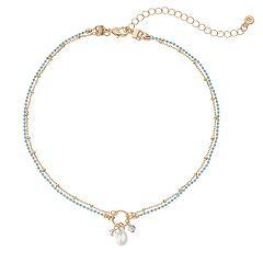 LC Lauren Conrad Blue Chain Choker Necklace