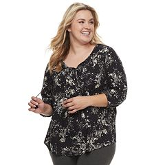 Plus Size SONOMA Goods for Life™ Printed Pintuck Peasant Top