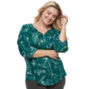 Plus Size SONOMA Goods for Life? Printed Pintuck Peasant Top