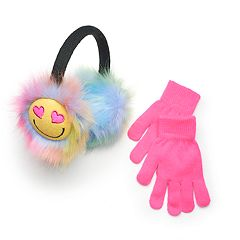 Girls 4-16 SO® Emoji Earmuffs & Gloves Set